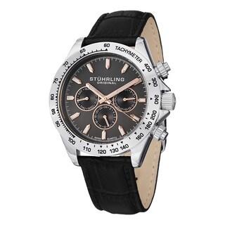 Stuhrling Original Men's Triumph Classic Swiss Quartz Leather Strap Watch