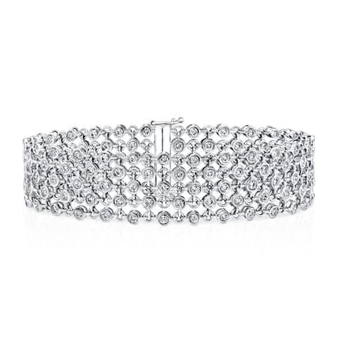 Auriya 3 3/4ctw Modern 5-Row Diamond Bracelet 14k White Gold - 7-inch