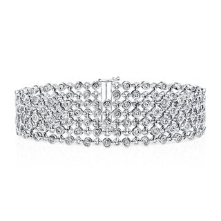 Auriya 14k White Gold 3 3/4ct TDW 5-Row Diamond Bracelet