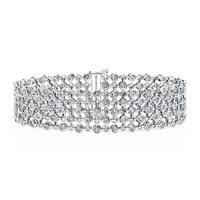 Auriya 14k White Gold 3 3/4ct TDW 5-Row Diamond Bracelet