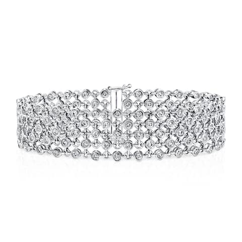 Auriya 3 3/4ctw Modern 5-Row Diamond Bracelet 14k White Gold - 7-inch