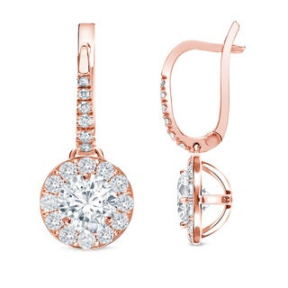 Auriya 14k Rose Gold 1ct TDW Halo Diamond Leverback Earrings (H-I, SI1-SI2)