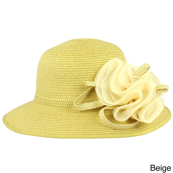 Faddism Women's Straw Hat with Removable Floral Ornament