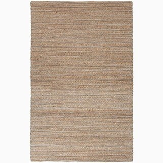 Hand-Made Solid Pattern Taupe/ Gray Cotton/ Jute Rug (9x12)