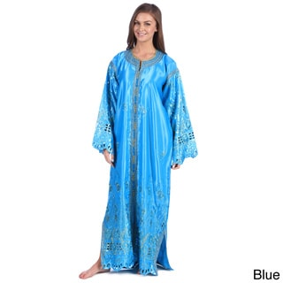 Moroccan Handmade Women's Satin Caftan with Gold Embroidered Fiber and Carved Button