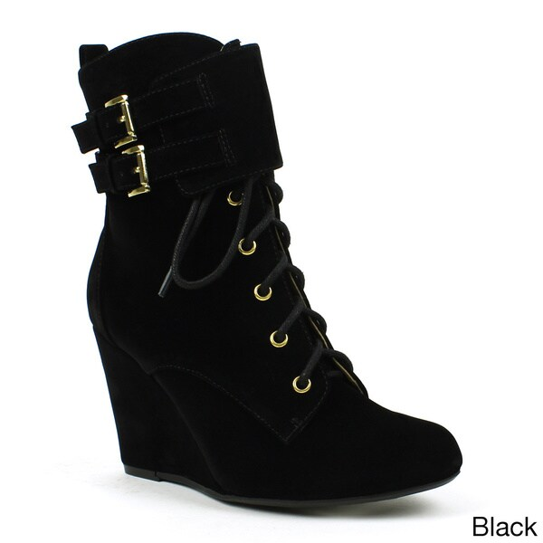 Mark & Maddux Women's 'Stana-03' Double-buckle Lace-up Wedge Booties