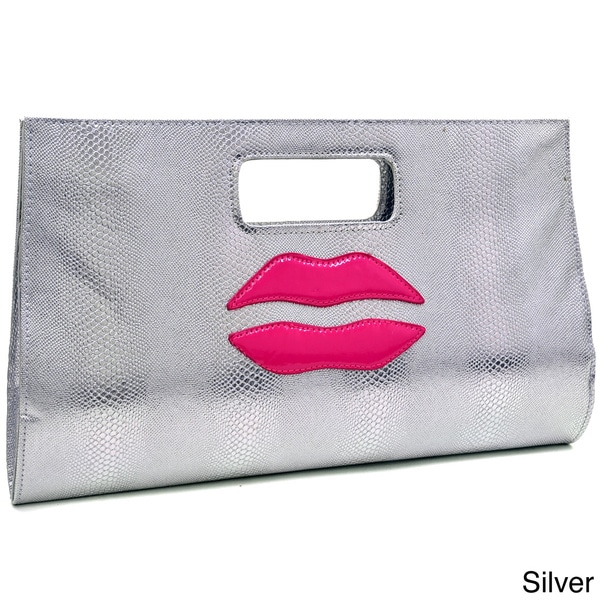 Dasein Snakeskin Textured With Kiss Design Evening Clutch. Opens flyout.