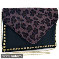 Dasein Faux Fur Envelope With Gold Studs Clutch Purse