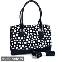 Dasein Convertible Faux Leather Trimmed Glossy Polka Dot Satchel