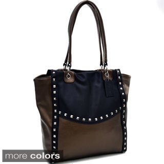 Dasein Pyramid Studded Two-Tone Shoulder Bag