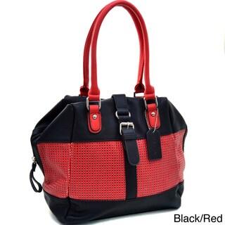 Dasein Two-Tone Mesh Panel Satchel Bag