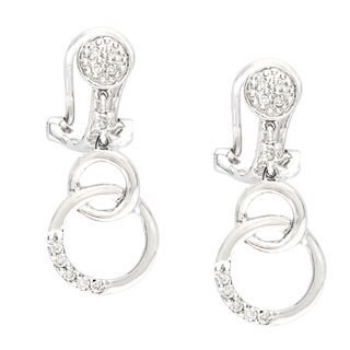 Diamonds for a Cure 14k White Gold 1/6ct TDW Circle Drop Earrings (H-I, SI1-SI2)