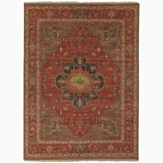 """Hand-Knotted Oriental Red Area Rug (9' X 12') - 8'10"""" x 11'9"""""""