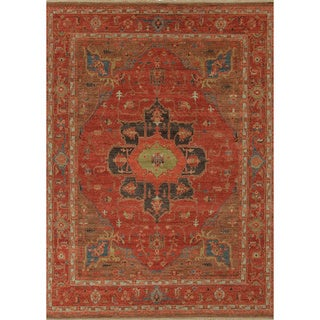 """Hand-Knotted Oriental Red Area Rug - 7'10"""" x 9'10"""""""