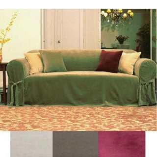 Velvet 1-piece Loveseat Slipcover with Front Bowties
