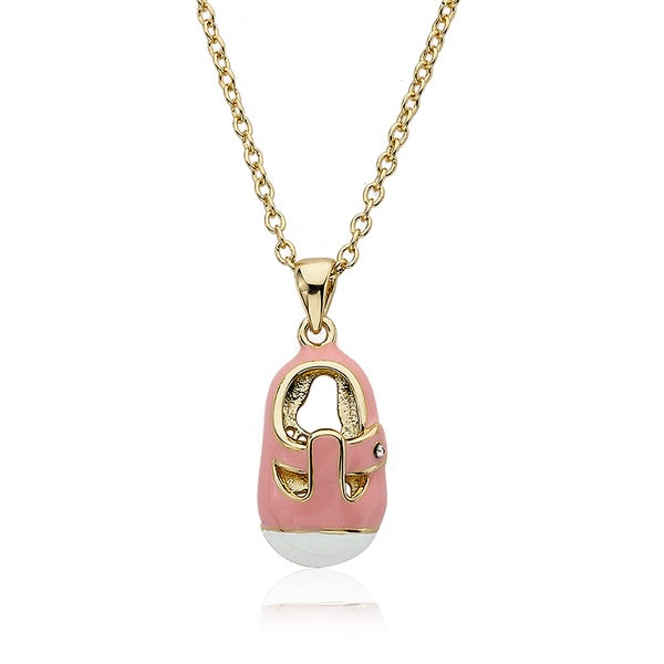 14k Gold Plated Little Miss Twin Stars Baby Shoe Pink Necklace