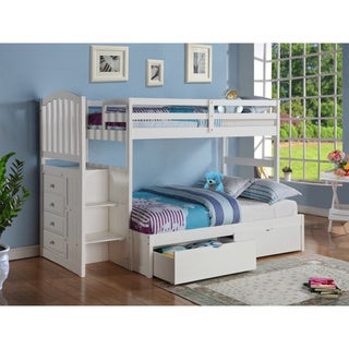 Donco Kids Arch Mission Stairway Bunkbed with Full Extension and Underbed Drawers (Twin/Full)
