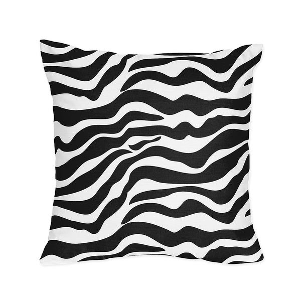 Microsuede Black and White Zebra Animal Print Accent Pillow
