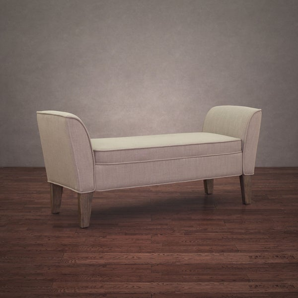 Drake Beige Linen Reclaimed Finish Bench