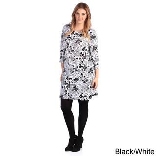 White Mark Women's Plus Size Mult-print Long Sleeve Dress