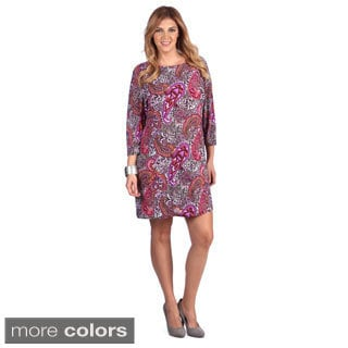 White Mark Women's Plus Size Mult-print Long Sleeve Dress