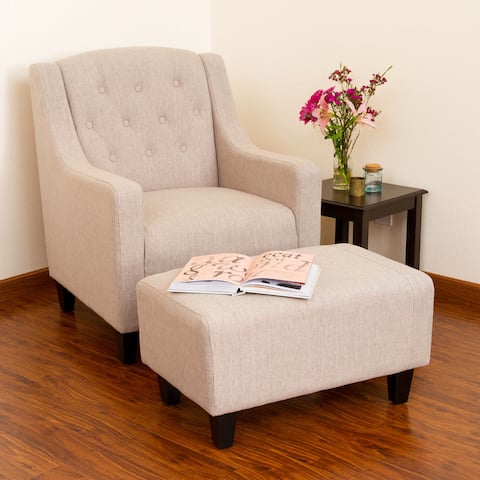 Elaine Light Beige Tufted Fabric Club Chair with Ottoman by Christopher Knight Home