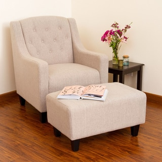 Lovely Elaine Light Beige Tufted Fabric Club Chair With Ottoman By Christopher  Knight Home