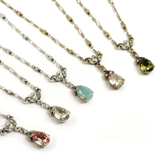 Sweet Romance Crystal Teardrop Pear Necklace