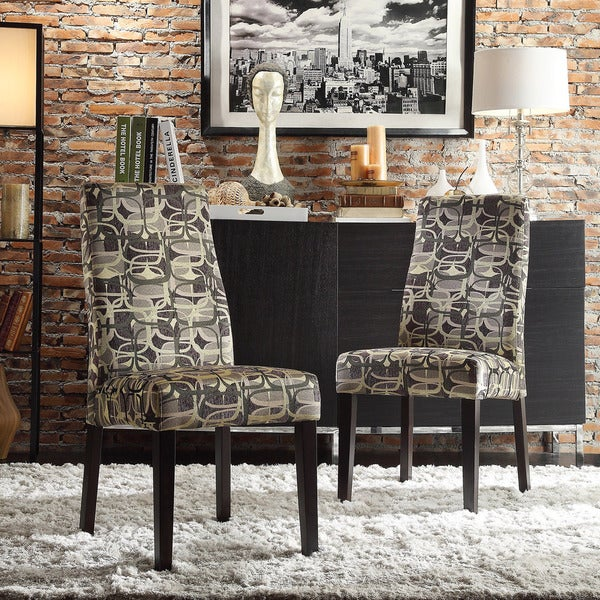 Inspire Q Andorra Velvet And Faux Alligator Leather Dining: INSPIRE Q Marcey Mod Geometric Wave Back Dining Chair (Set