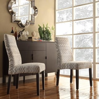 INSPIRE Q Marcey Grey Chevron Wave Back Dining Chair (Set of 2)