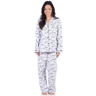 Leisureland Women's Music Note Print Cotton Flannel Pajama Set|https://ak1.ostkcdn.com/images/products/8584645/Leisureland-Womens-Music-Note-Print-Cotton-Flannel-Pajama-Set-P15857234.jpg?impolicy=medium