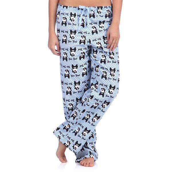 Leisureland Women's Bow Wow Dog Print Cotton Flannel Sleep Pants. Opens flyout.