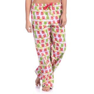 Leisureland Women's Owl Print Cotton Flannel Sleep Pants