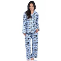 Leisureland Women's Sleep Bow Wow! Blue Cotton Flannel Dog-themed Pajama Set