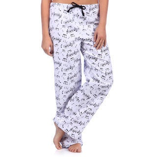 Leisureland Women's Music Notes Print Cotton Flannel Sleep Pants