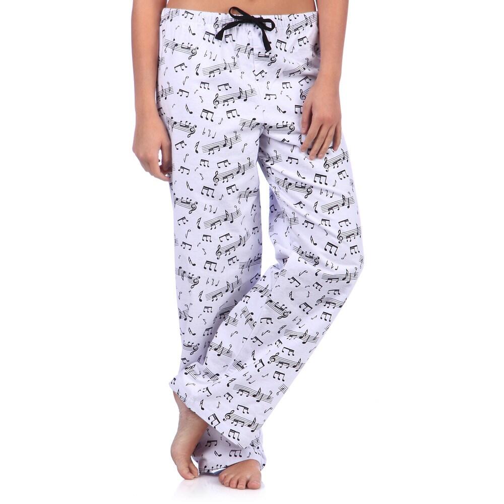 Leisureland Womens Music Notes Print Cotton Flannel Sleep Pants