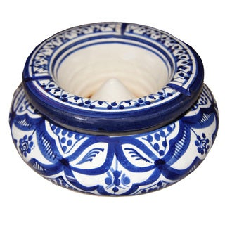 Moroccan Handmade Fez 2-piece Ceramic Ashtray , Handmade in Morocco