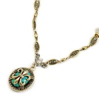 Sweet Romance Turquoise French Fleur De Lis Vintage Necklace