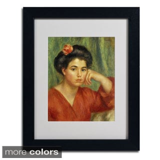 Pierre Renoir 'Young Woman With a Rose' Framed Matted Art