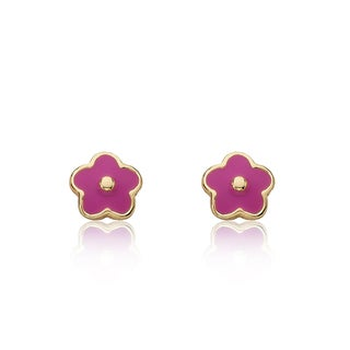 14k Gold Plated Little Miss Twin Stars Frosted Flowers Earrings
