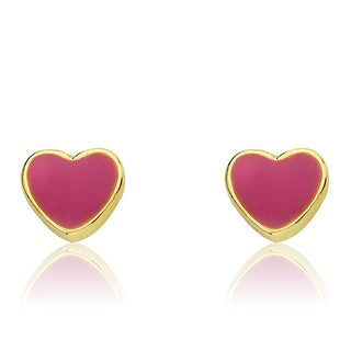 Little Miss Twin Stars 14K Gold Plated Hot Pink Heart Earrings