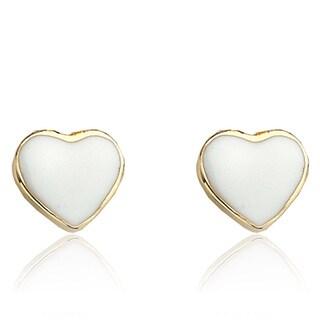Little Miss Twin Stars 14K Gold Plated White Heart Earrings