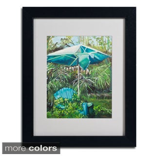 Judy Harris 'Chair Umbrella Garden' Framed Matted Art