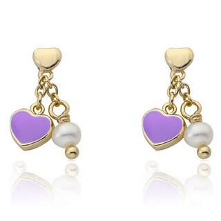 Little Miss Twin Stars 14K Gold Plated Lavender Heart Dangle Earrings