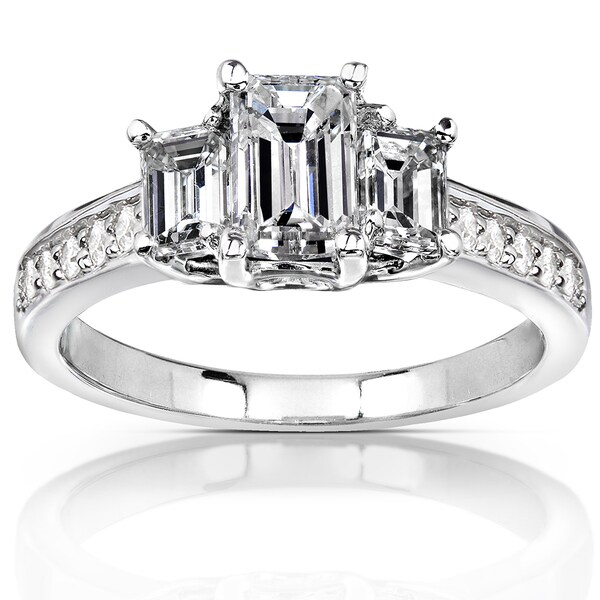 Annello by Kobelli 14k White Gold Certified 1 1/2ct TDW Emerald Cut Diamond Ring (G-H, VS