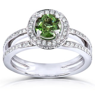 Annello by Kobelli 18k White Gold Green Tourmaline and 1/2ct TDW Diamond Halo Ring (G-H,