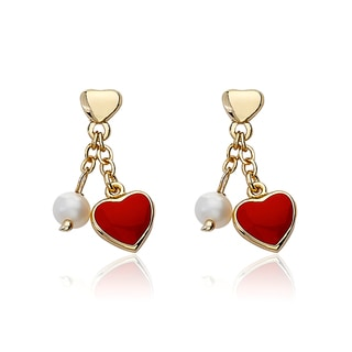 14K Gold Plated Little Miss Twin Stars Heart Dangle Earrings