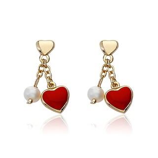 14K Gold Plated Little Miss Twin Stars Heart Dangle Earrings