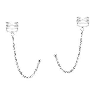 Handmade Triple Cuff Chain Sterling Silver Post Earrings (Thailand)