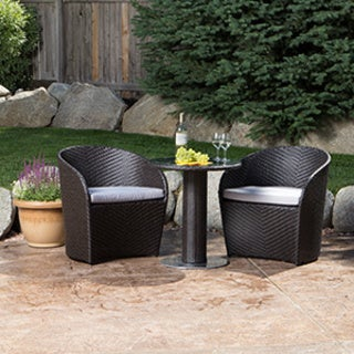 Karlstad Black 3-piece Wicker Bistro Set